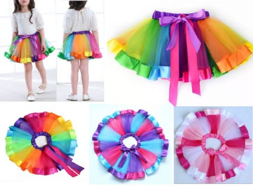 Adult baby kid Fancy Dress Tutu Pettiskirt Princess Party Skirts Mini Rainbow UK